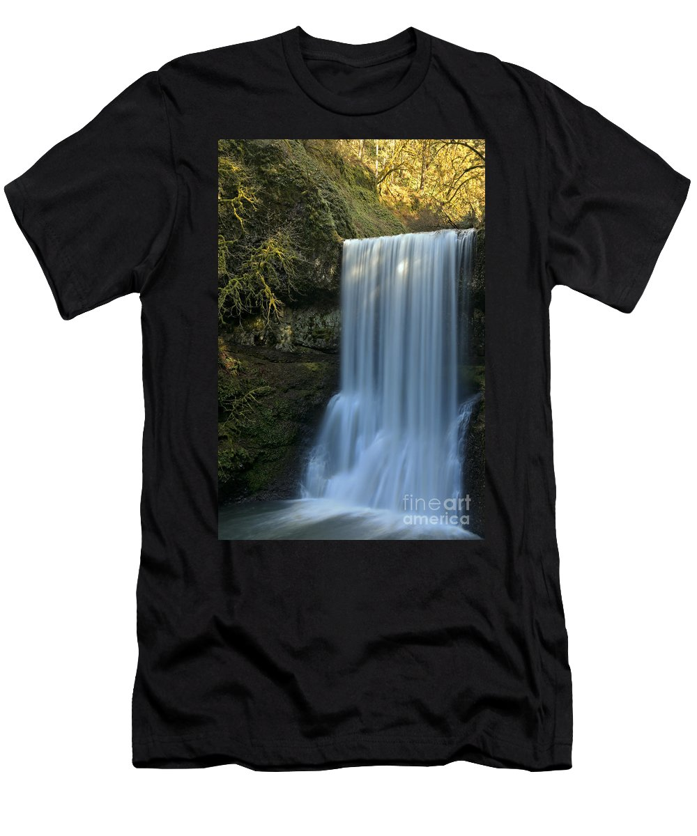 Lower South Falls Men's T-Shirt (Athletic Fit) featuring the photograph Lower South Falls Closeup by Adam Jewell