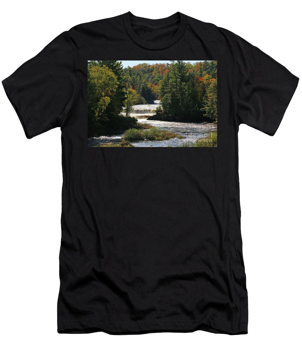 Lower Tahquamenon Falls Men's T-Shirt (Athletic Fit) featuring the photograph Lower Tahquamenon Falls 4349 by Jack Schultz