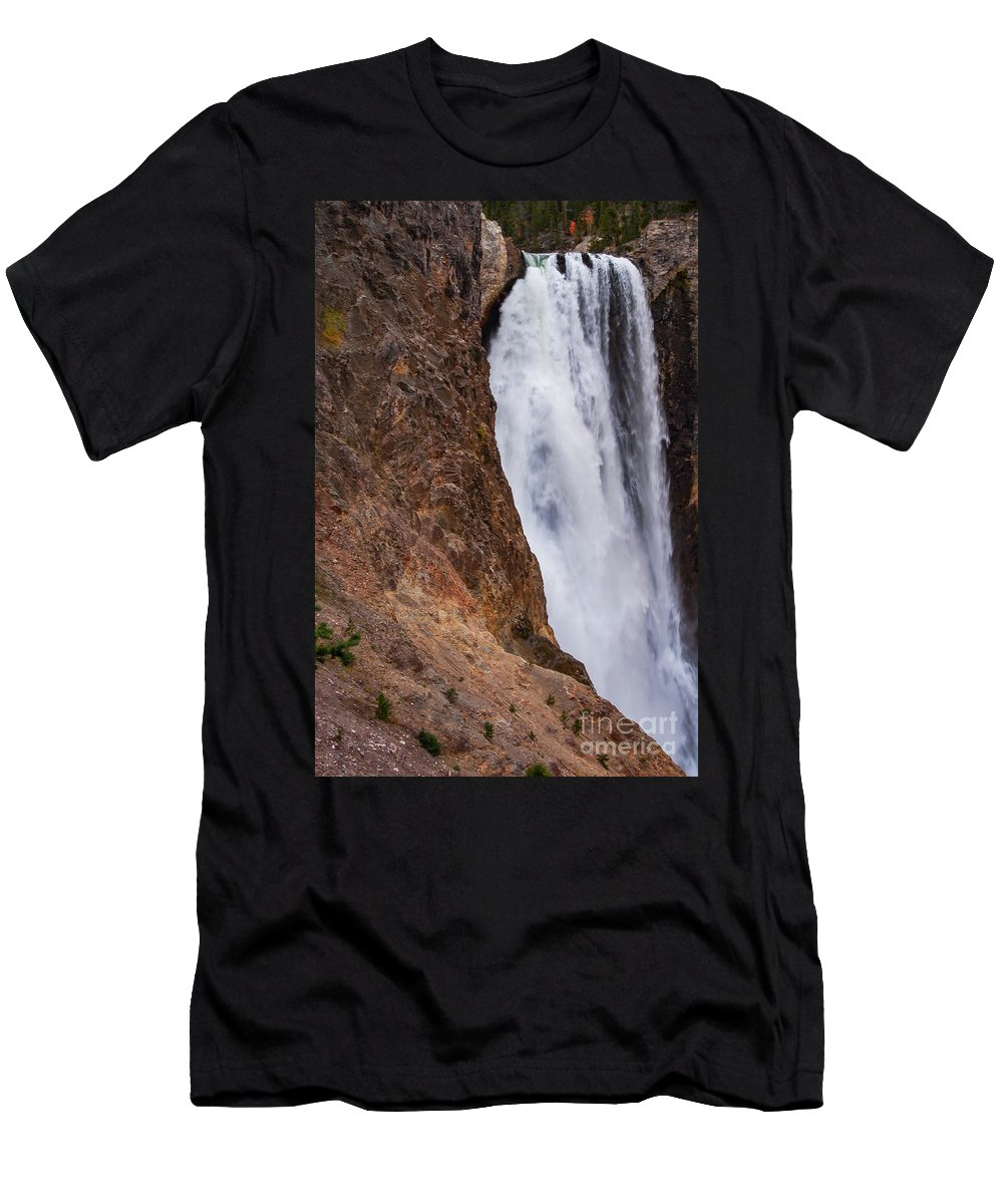 Lower Falls Men's T-Shirt (Athletic Fit) featuring the photograph Lower Yellowstone Falls by Bob Phillips