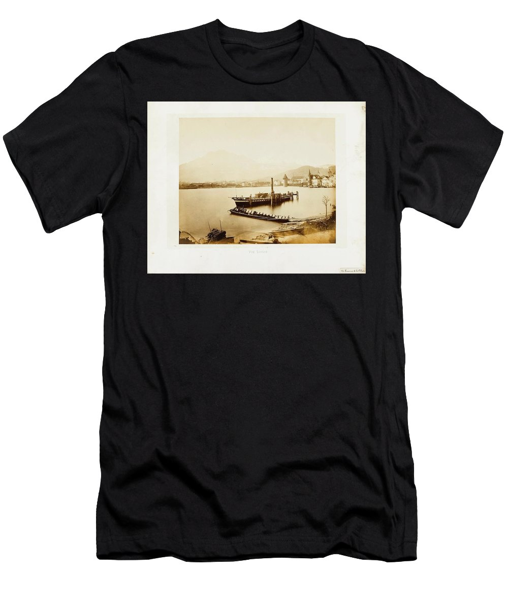 Braun Men's T-Shirt (Athletic Fit) featuring the painting Lucerne by MotionAge Designs