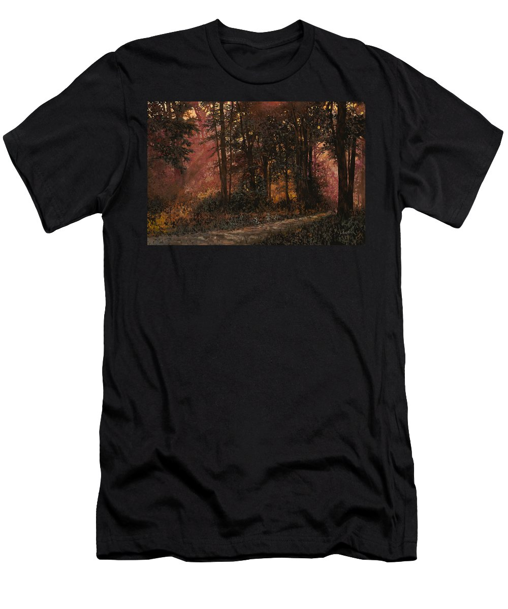 Wood Men's T-Shirt (Athletic Fit) featuring the painting Luci Nel Bosco by Guido Borelli