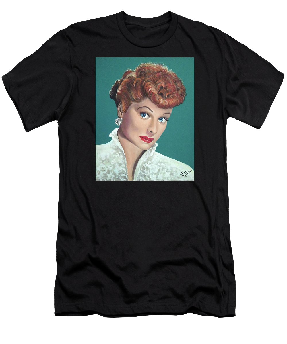 I Love Lucy Men's T-Shirt (Athletic Fit) featuring the painting Lucille Ball by Tom Carlton