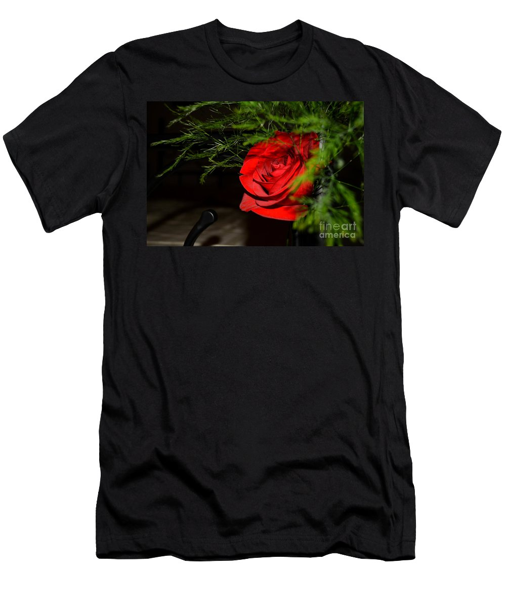 Red-rose Men's T-Shirt (Athletic Fit) featuring the photograph Lucius Red Rose by Reva Steenbergen
