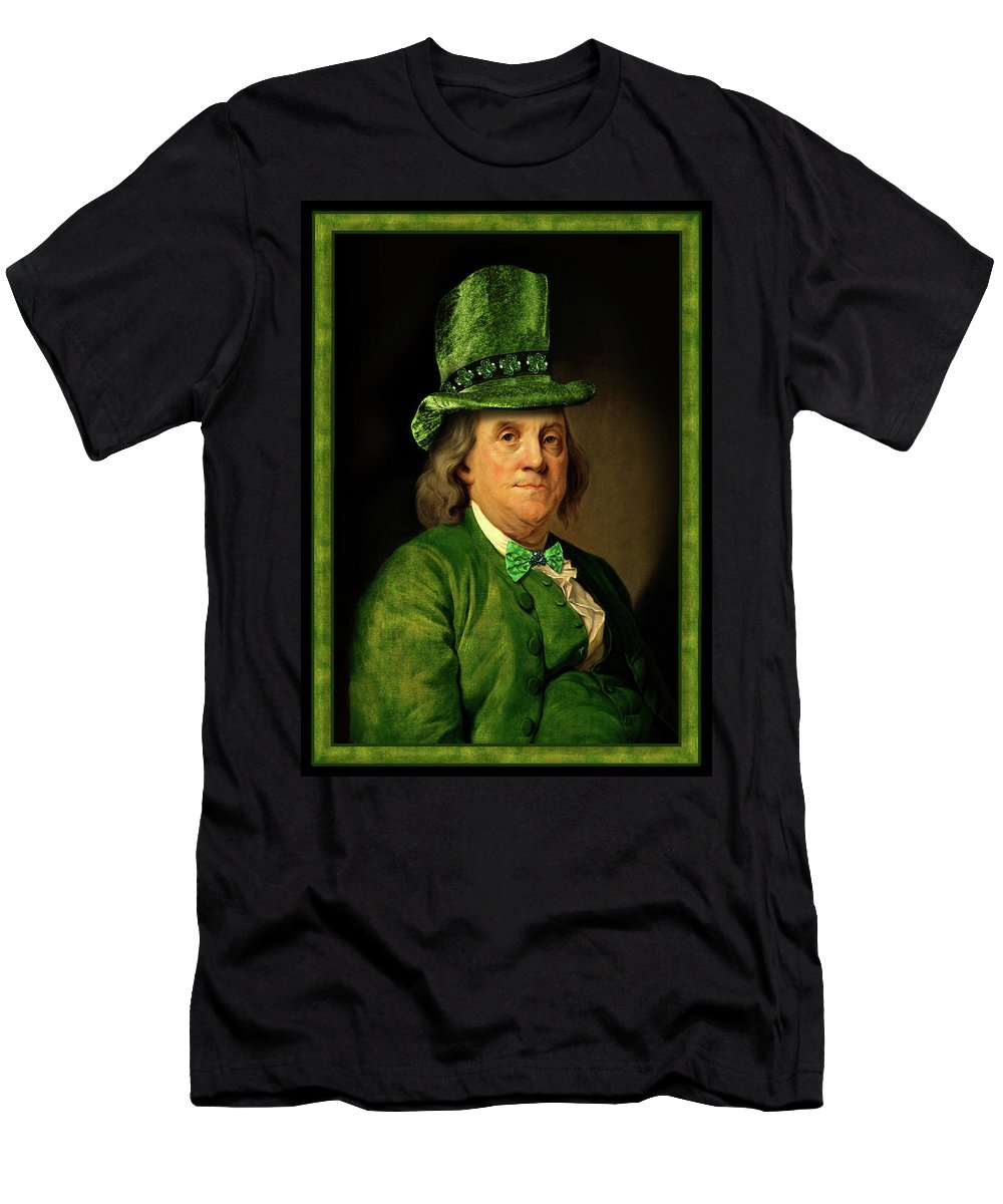 Ben Franklin Men's T-Shirt (Athletic Fit) featuring the mixed media Lucky Ben Franklin In Green by Gravityx9 Designs