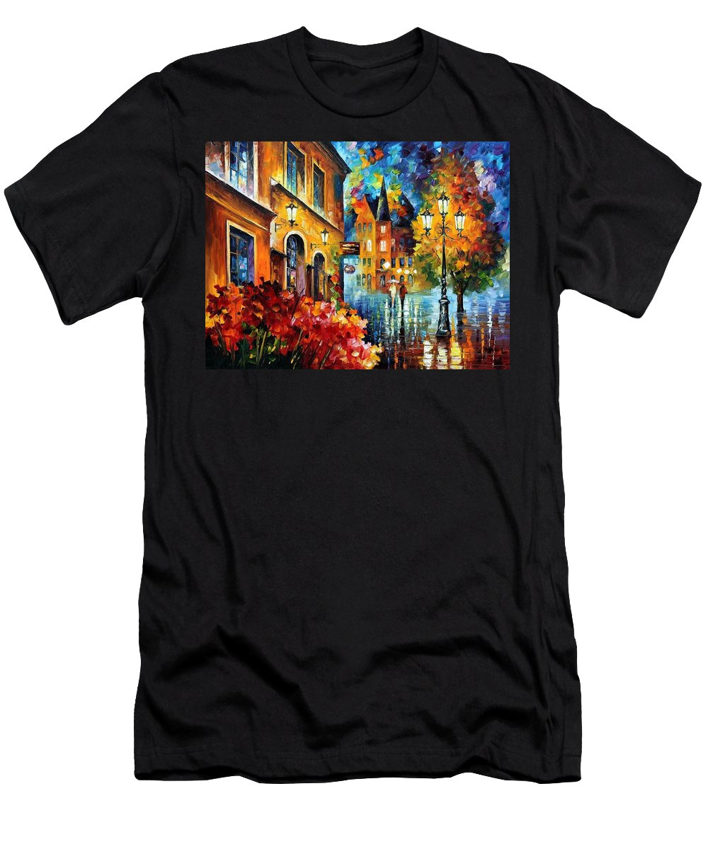 Afremov Men's T-Shirt (Athletic Fit) featuring the painting Lucky Night by Leonid Afremov