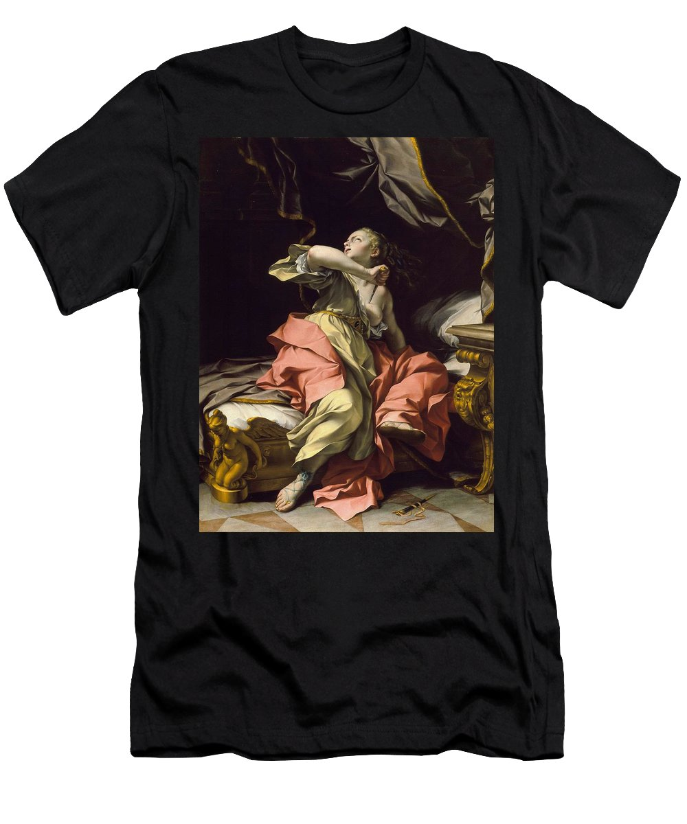 Girl Men's T-Shirt (Athletic Fit) featuring the painting Ludovico Mazzanti - The Death Of Lucretia by Ludovico Mazzanti