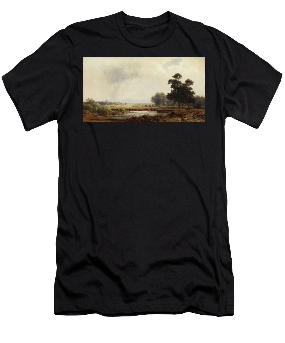 Nature Men's T-Shirt (Athletic Fit) featuring the painting Ludwig Deutsch, Landscape by Ludwig Deutsch