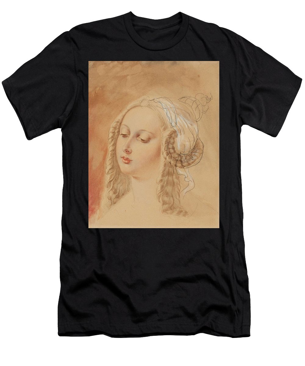 Girl Men's T-Shirt (Athletic Fit) featuring the painting Ludwig Emil Grimm, Potrait Of Hedwig Von Munchhausen, Later Von Scholley by Ludwig Emil Grimm