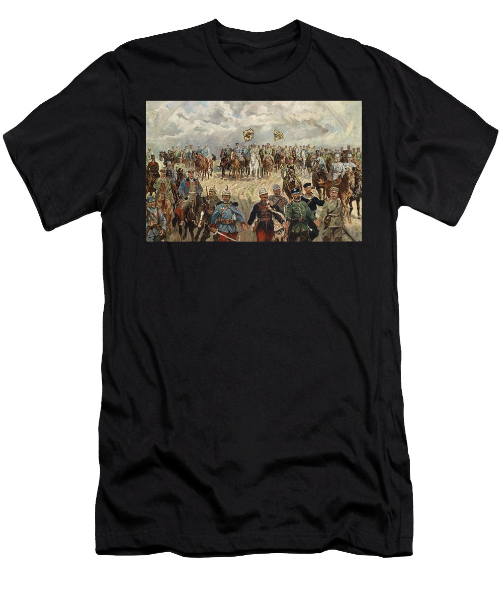 Man Men's T-Shirt (Athletic Fit) featuring the painting Ludwig Koch, Franz Josef I And Wilhelm II With Military Commanders During Wwi by Ludwig Koch