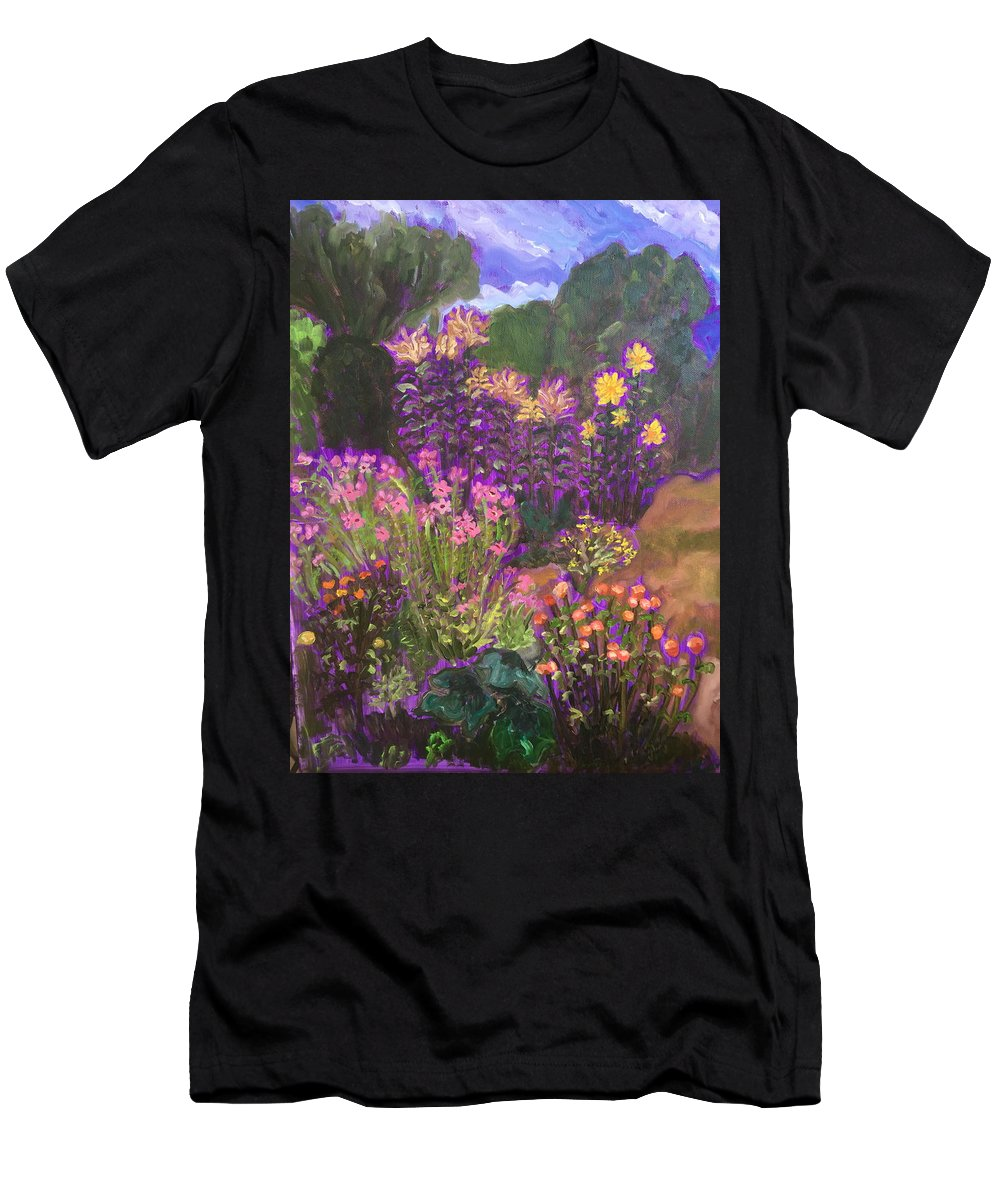 Landscape Men's T-Shirt (Athletic Fit) featuring the painting Luhan Garden by Ruth Hansen