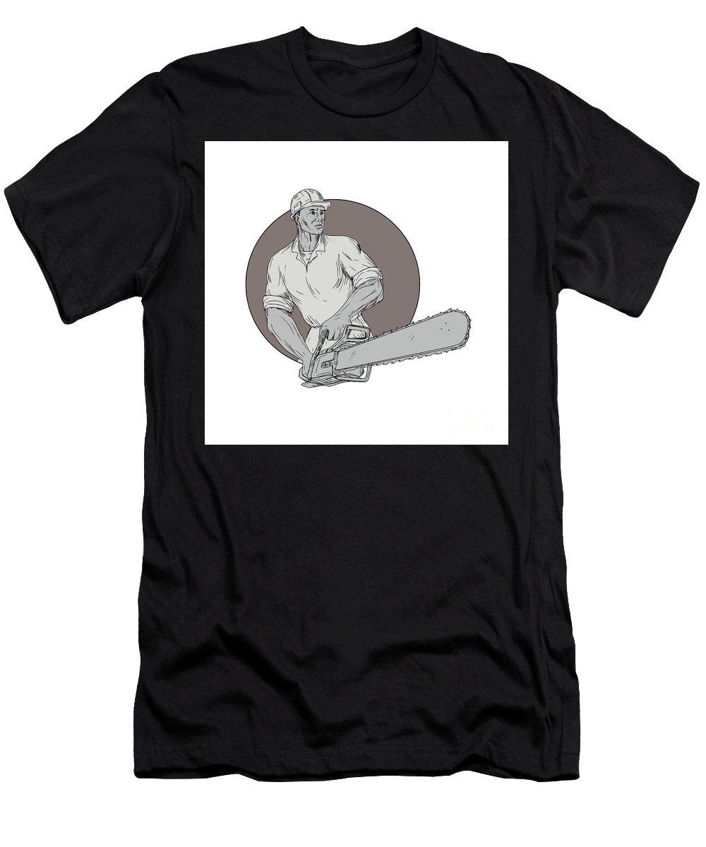 Drawing T-Shirt featuring the digital art Lumberjack Arborist Holding Chainsaw Oval Drawing by Aloysius Patrimonio