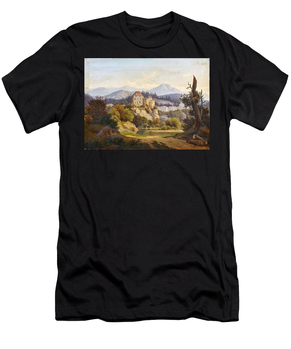 Nature Men's T-Shirt (Athletic Fit) featuring the painting Lunde, Anders Christian Copenhagen 1809 - 1886 Grotta Ferrata. Oil On Canvas. Relined by Lunde Anders Christian