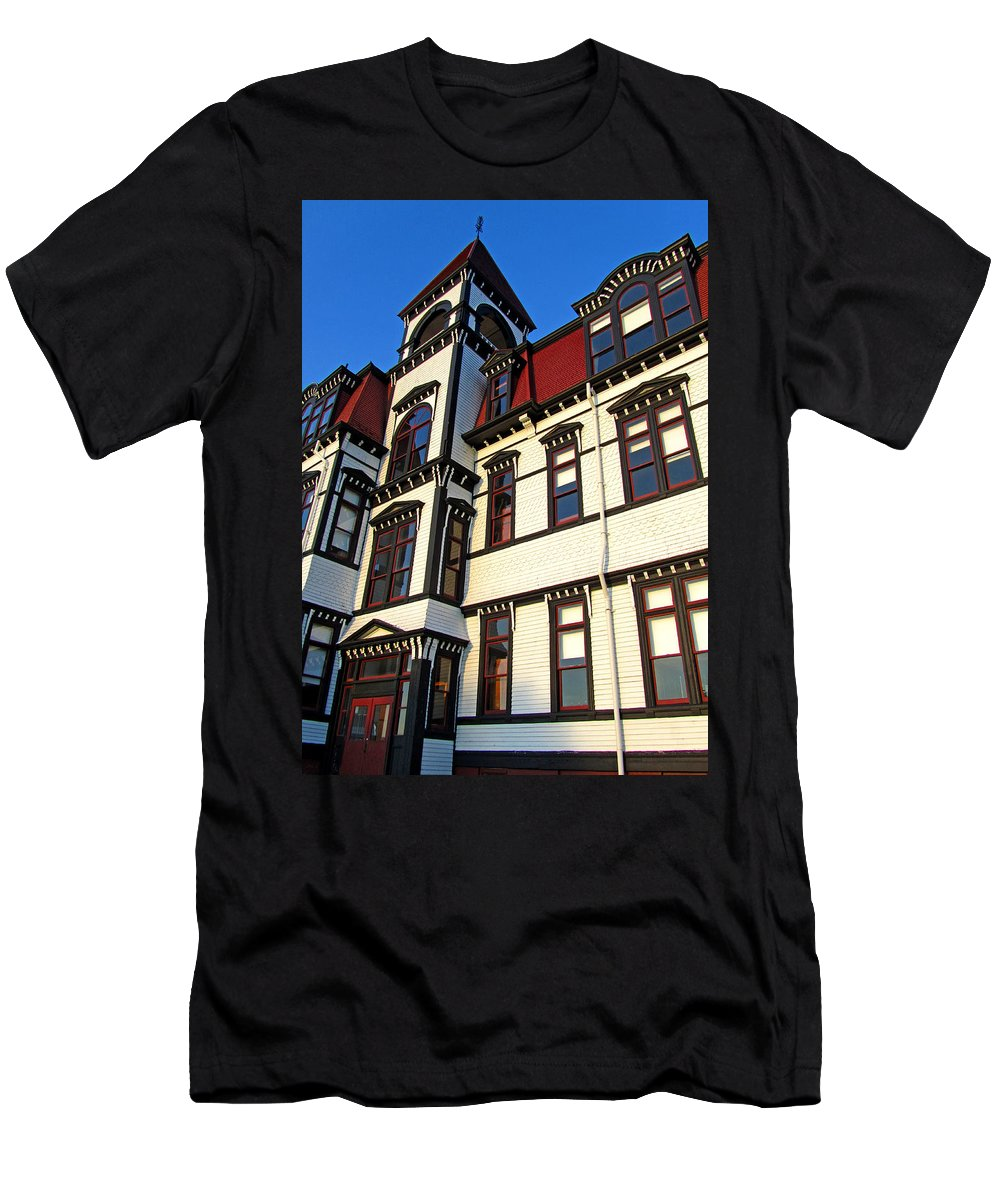 Lunenburg Academy Men's T-Shirt (Athletic Fit) featuring the photograph Lunenburg Academy 1 by Mark Sellers