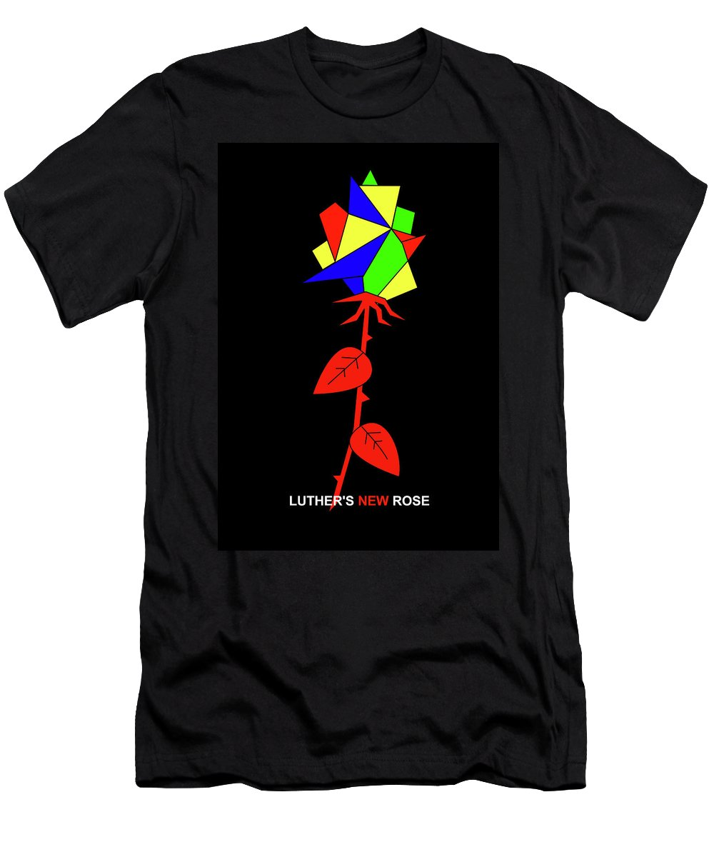 Men's T-Shirt (Athletic Fit) featuring the mixed media Luthers New Rose by Asbjorn Lonvig