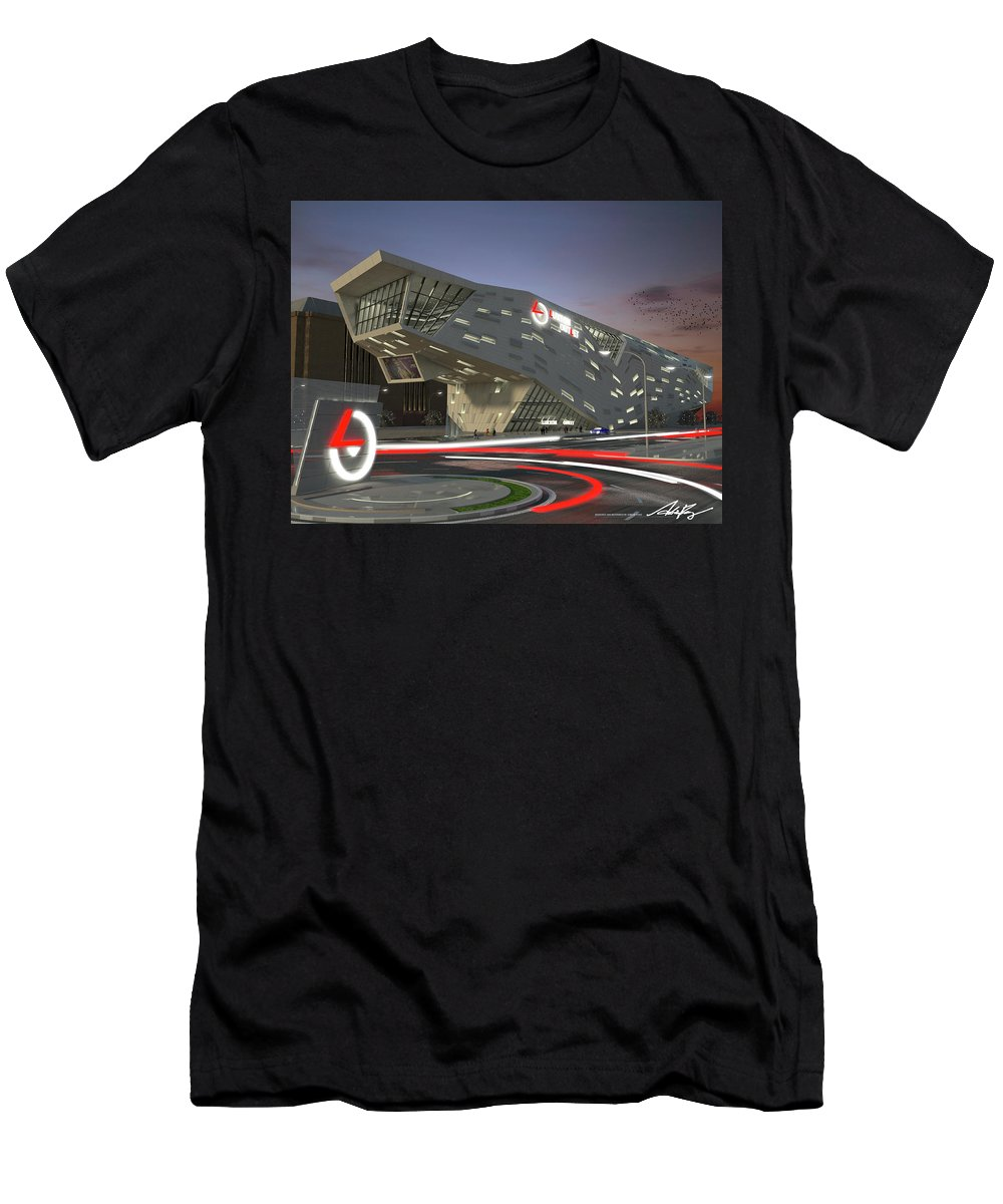 Outlet Men's T-Shirt (Athletic Fit) featuring the digital art Luxton Outlet Exterior by Adrian Pang