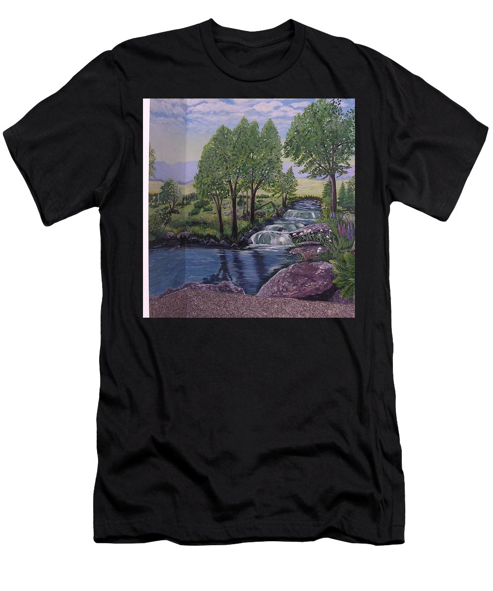 Mural Wall Men's T-Shirt (Athletic Fit) featuring the painting Luxury Bath Time by Stella Sherman