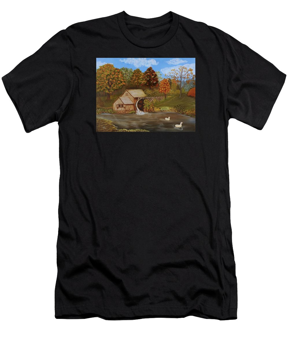 Mill Men's T-Shirt (Athletic Fit) featuring the painting Mabry Mill by Douglas Ann Slusher