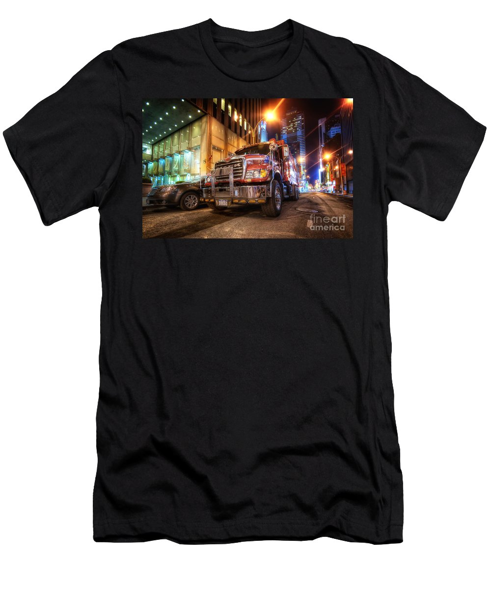 Yhun Suarez Men's T-Shirt (Athletic Fit) featuring the photograph Mack Truck Nyc by Yhun Suarez