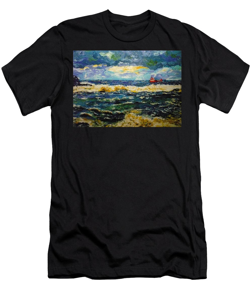 Sea Men's T-Shirt (Athletic Fit) featuring the painting Mad Sea by Ericka Herazo