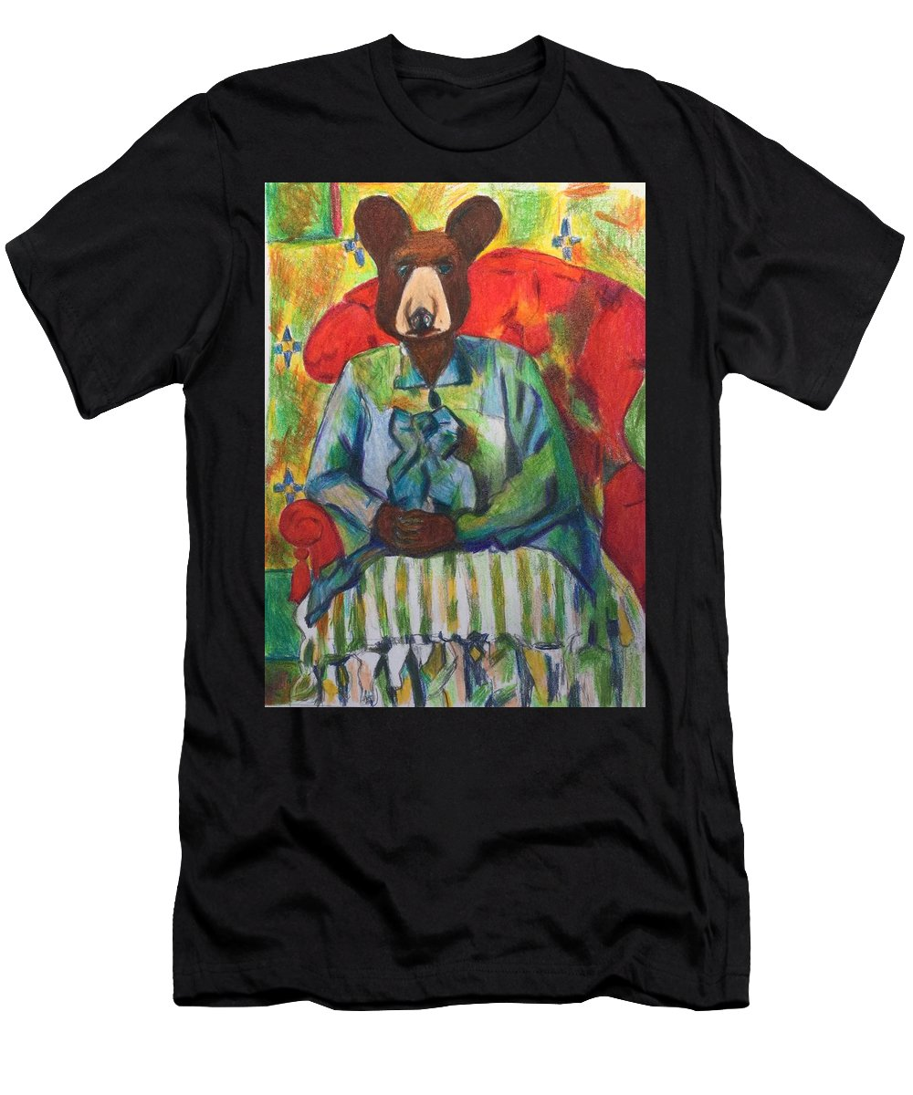 Bear Men's T-Shirt (Athletic Fit) featuring the mixed media Madame Bear In A Chair by Danielle Klein