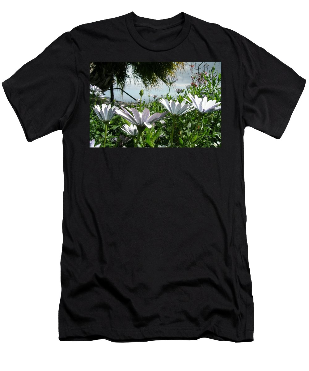 Landscape Men's T-Shirt (Athletic Fit) featuring the photograph Madeira Daisies by Valerie Ornstein