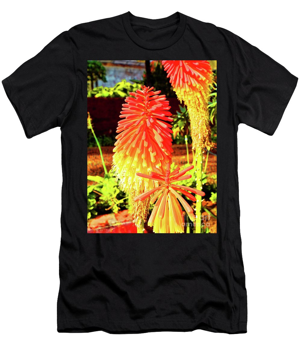 Tritoma Men's T-Shirt (Athletic Fit) featuring the photograph Madeira Funchal Tritoma, Red Hot Poker, Torch Lily, Poker Plant by Wilf Doyle