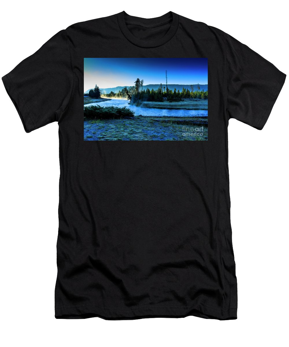 Yellowstone National Park Men's T-Shirt (Athletic Fit) featuring the photograph Madison River Yellowstone At Dawn by Ben Graham