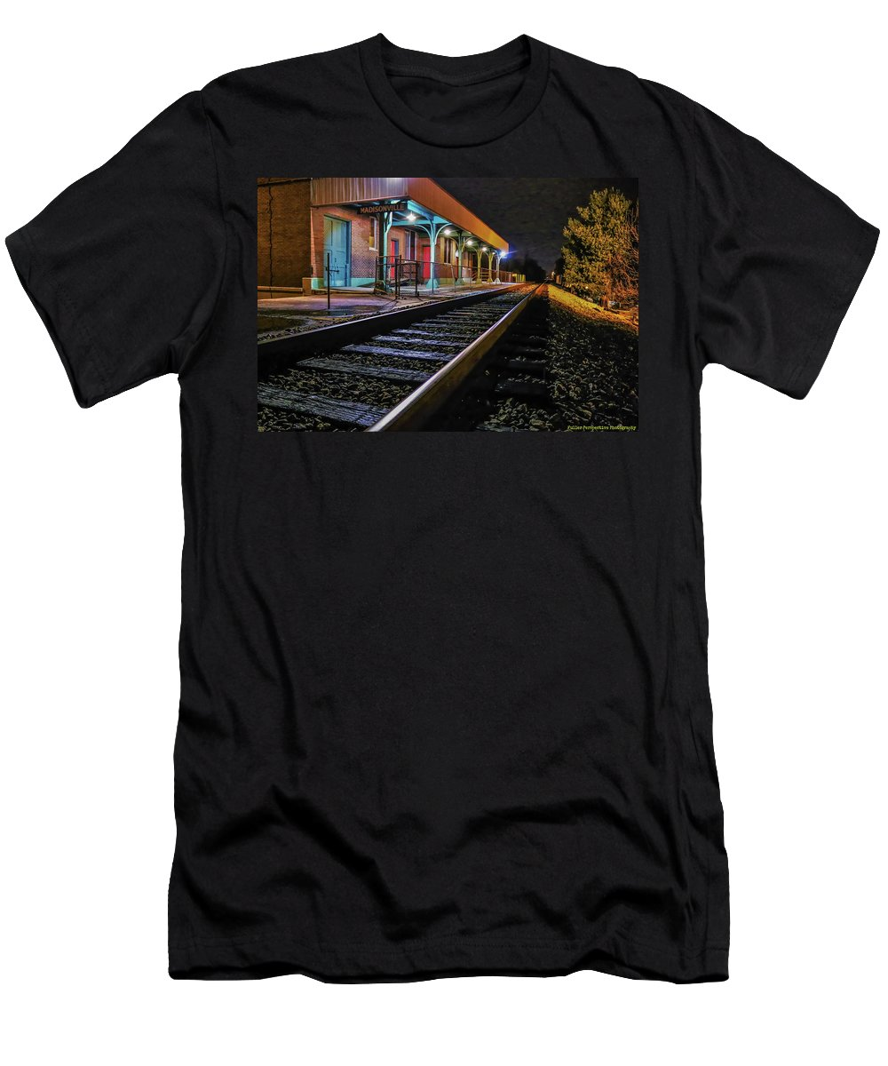 Train Depot Men's T-Shirt (Athletic Fit) featuring the photograph Madisonville Train Depot by Chad Fuller