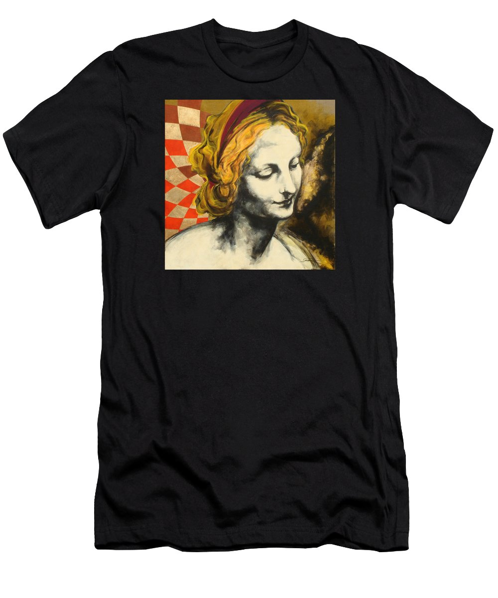 Pop Men's T-Shirt (Athletic Fit) featuring the painting Madona Face by Jean Pierre Rousselet