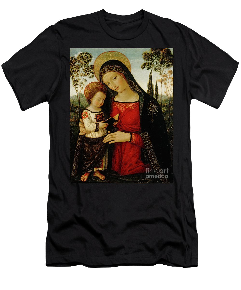 Madonna And Child T-Shirt featuring the painting Madonna And Child by Bernardino di Betto Pinturicchio