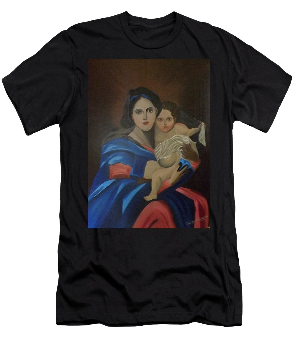 Madonna Men's T-Shirt (Athletic Fit) featuring the painting Madonna And Child by Dolores Brittain