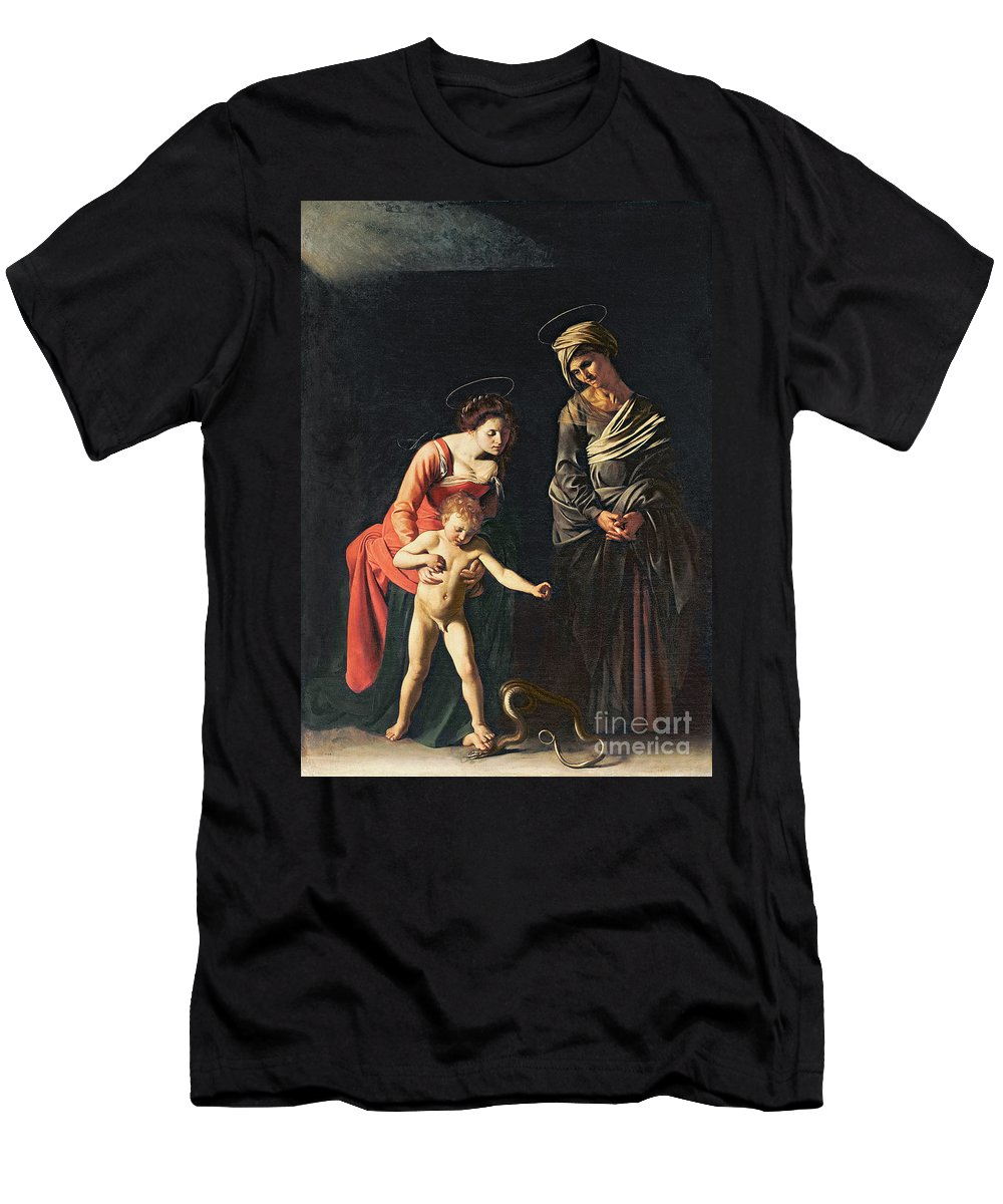 Madonna And Child With A Serpent T-Shirt featuring the painting Madonna And Child With A Serpent by Michelangelo Merisi da Caravaggio