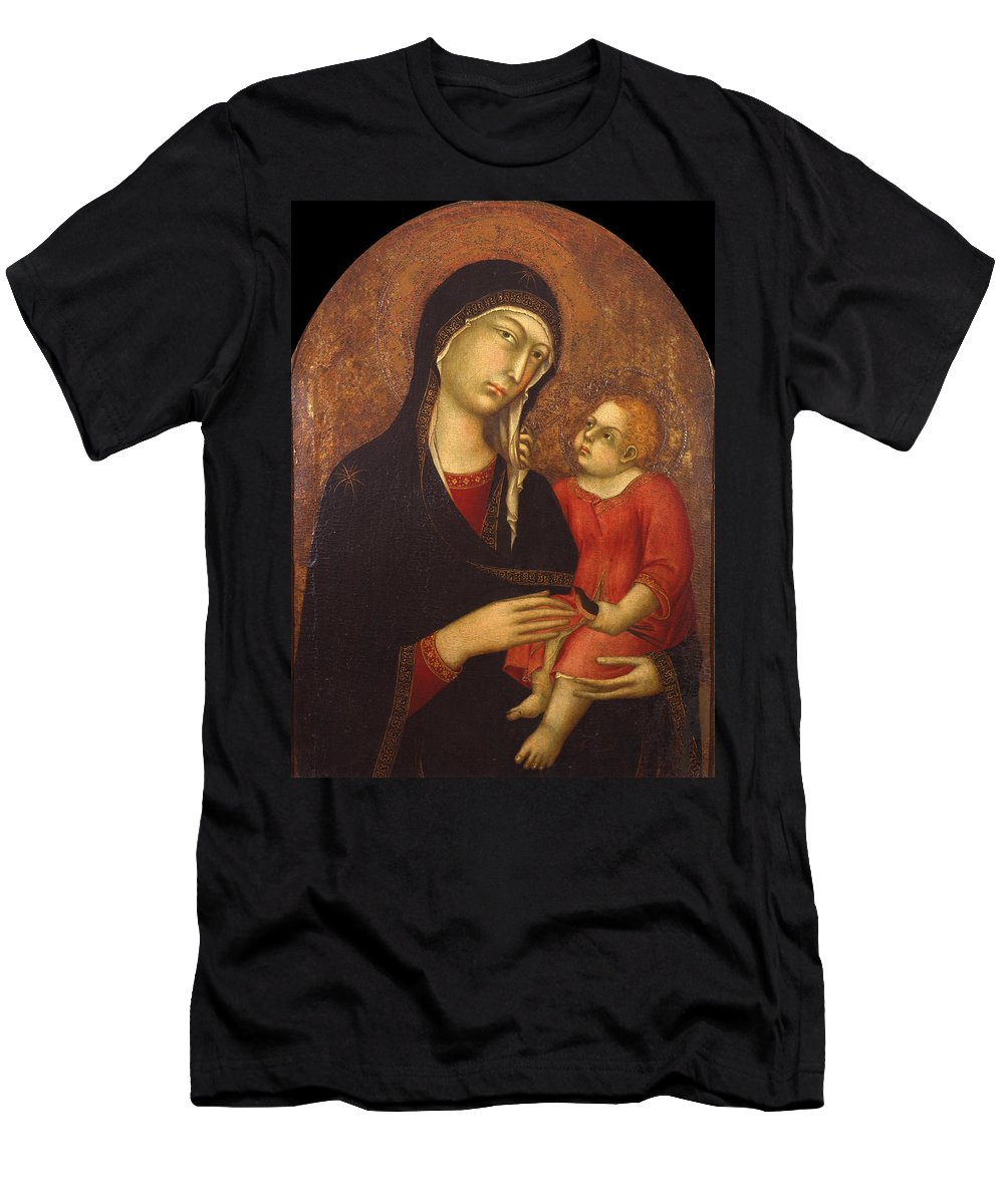 Simone Martini Men's T-Shirt (Athletic Fit) featuring the painting Madonna With Child by Simone Martini