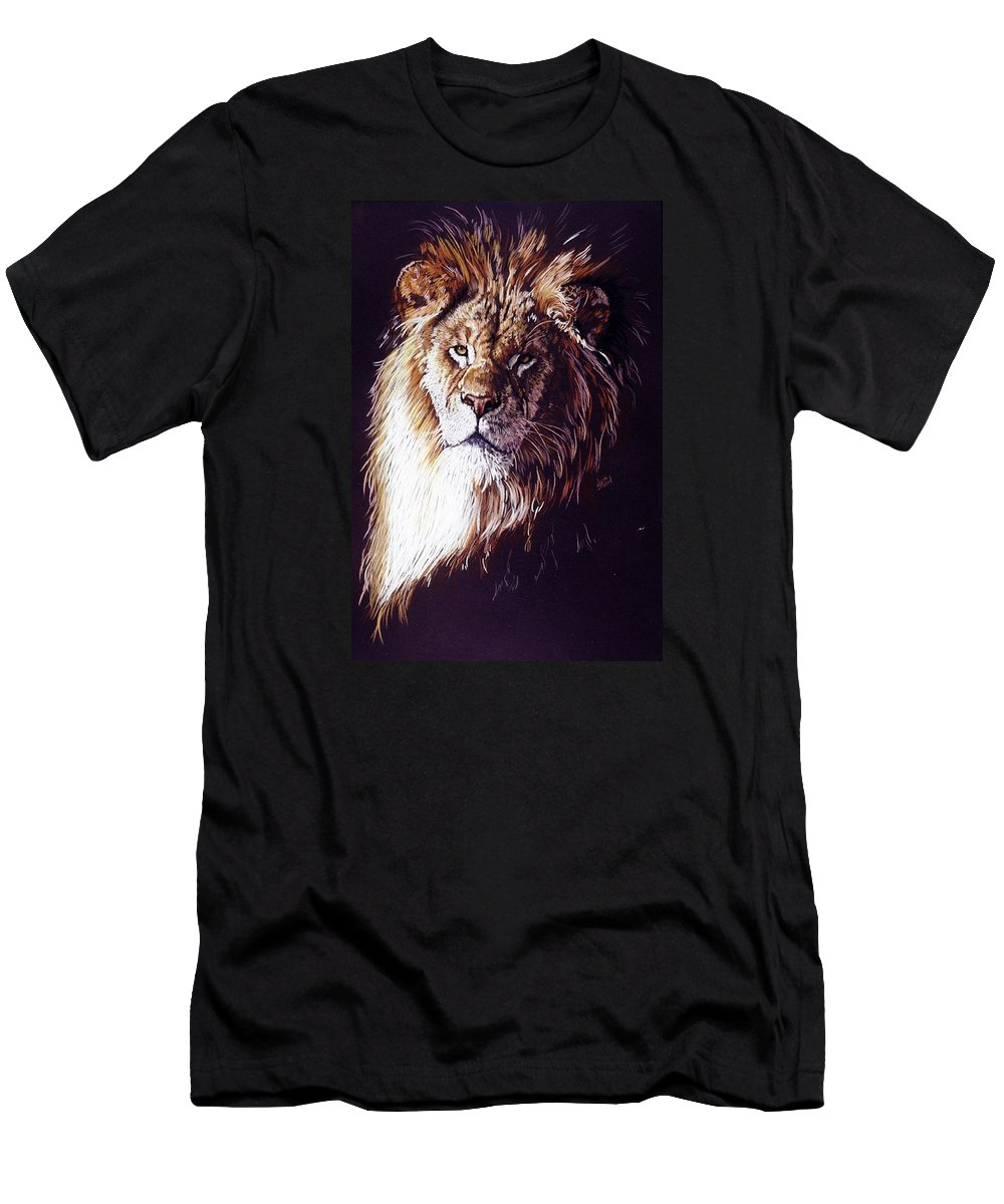 Lion Men's T-Shirt (Athletic Fit) featuring the drawing Maestro by Barbara Keith