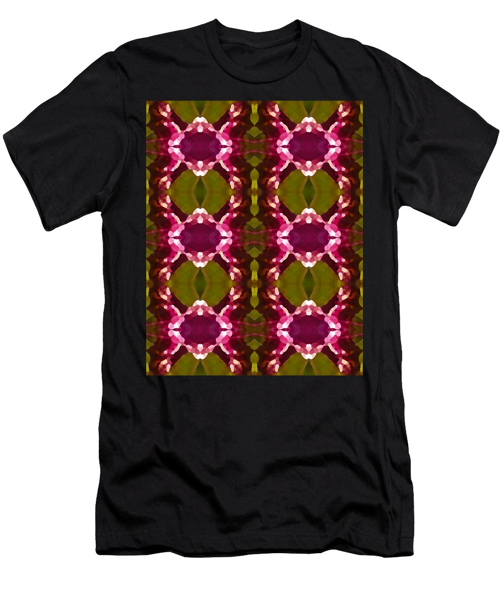 Abstract Men's T-Shirt (Athletic Fit) featuring the painting Magenta Crystal Pattern by Amy Vangsgard