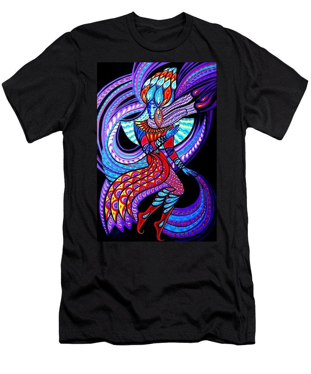 Inga Vereshchagina Men's T-Shirt (Athletic Fit) featuring the painting Magic Dance In The Void by Inga Vereshchagina