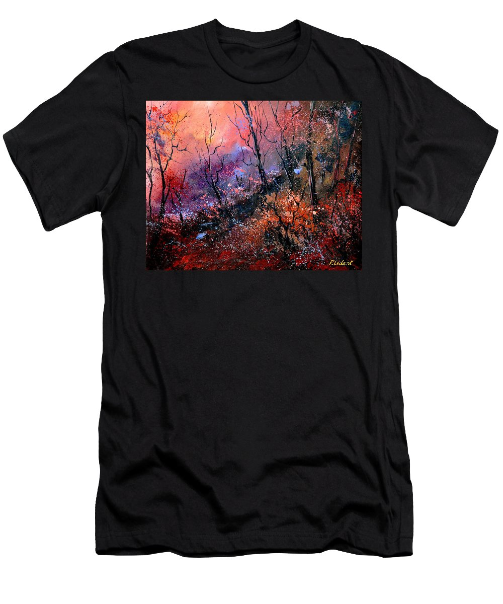 Forest Men's T-Shirt (Athletic Fit) featuring the painting Magic Forest by Pol Ledent