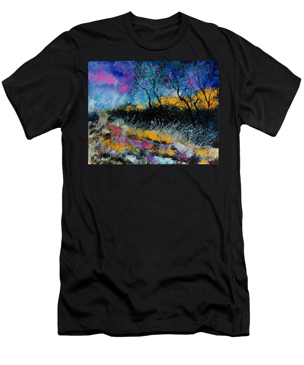 Landscape Men's T-Shirt (Athletic Fit) featuring the painting Magic Morning Light by Pol Ledent
