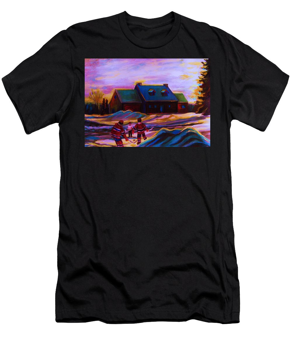 Hockey Men's T-Shirt (Athletic Fit) featuring the painting Magical Day For Hockey by Carole Spandau