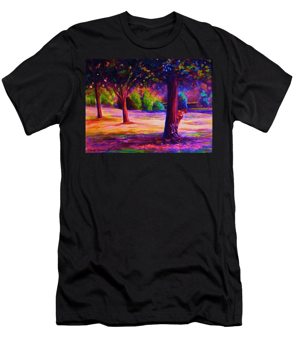 Landscape Men's T-Shirt (Athletic Fit) featuring the painting Magical Day In The Park by Carole Spandau