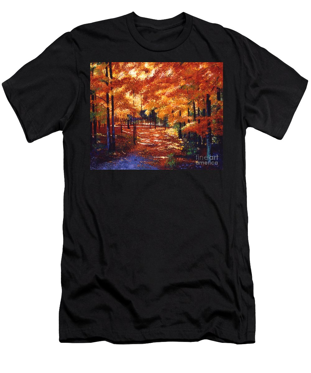Autumn Men's T-Shirt (Athletic Fit) featuring the painting Magical Forest by David Lloyd Glover