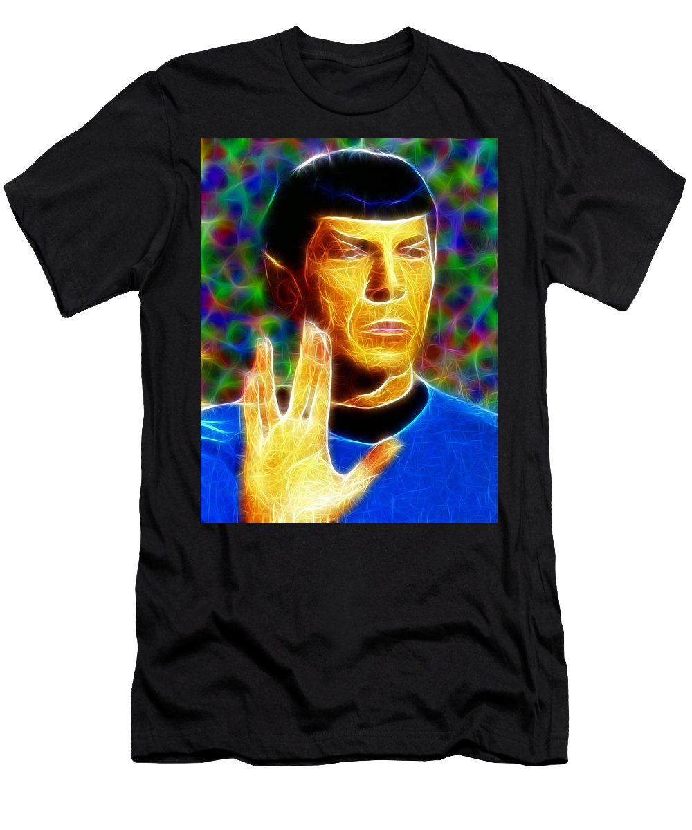 Spock Men's T-Shirt (Athletic Fit) featuring the painting Magical Mr. Spock by Paul Van Scott