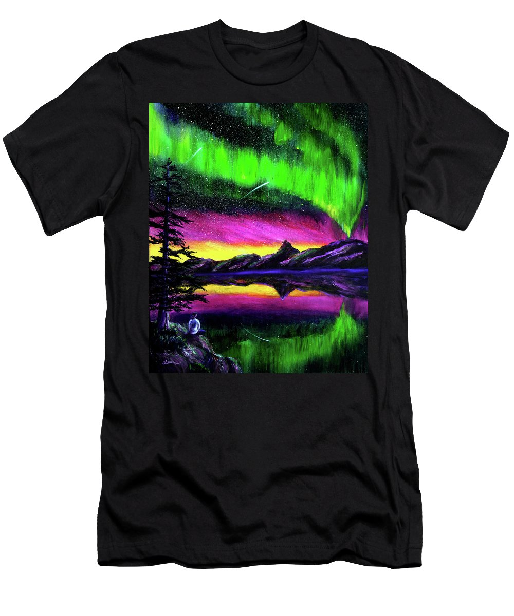 Northern Lights Men's T-Shirt (Athletic Fit) featuring the painting Magical Night Meditation by Laura Iverson