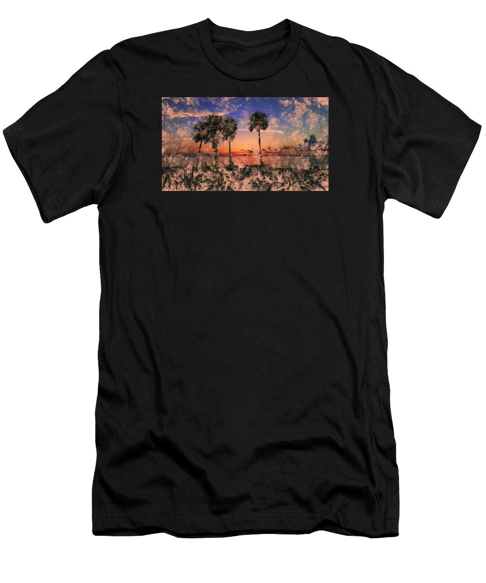 Palm Tree Men's T-Shirt (Athletic Fit) featuring the photograph Magical Sunset by Barry Craft