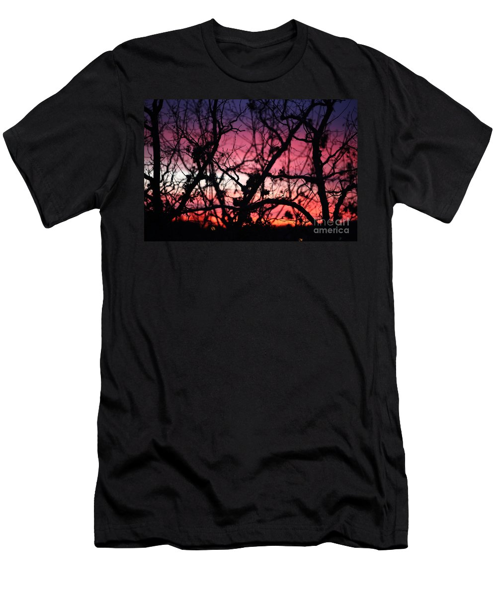 Sunset Men's T-Shirt (Athletic Fit) featuring the photograph Magnificent Sunset And Trees by Nadine Rippelmeyer