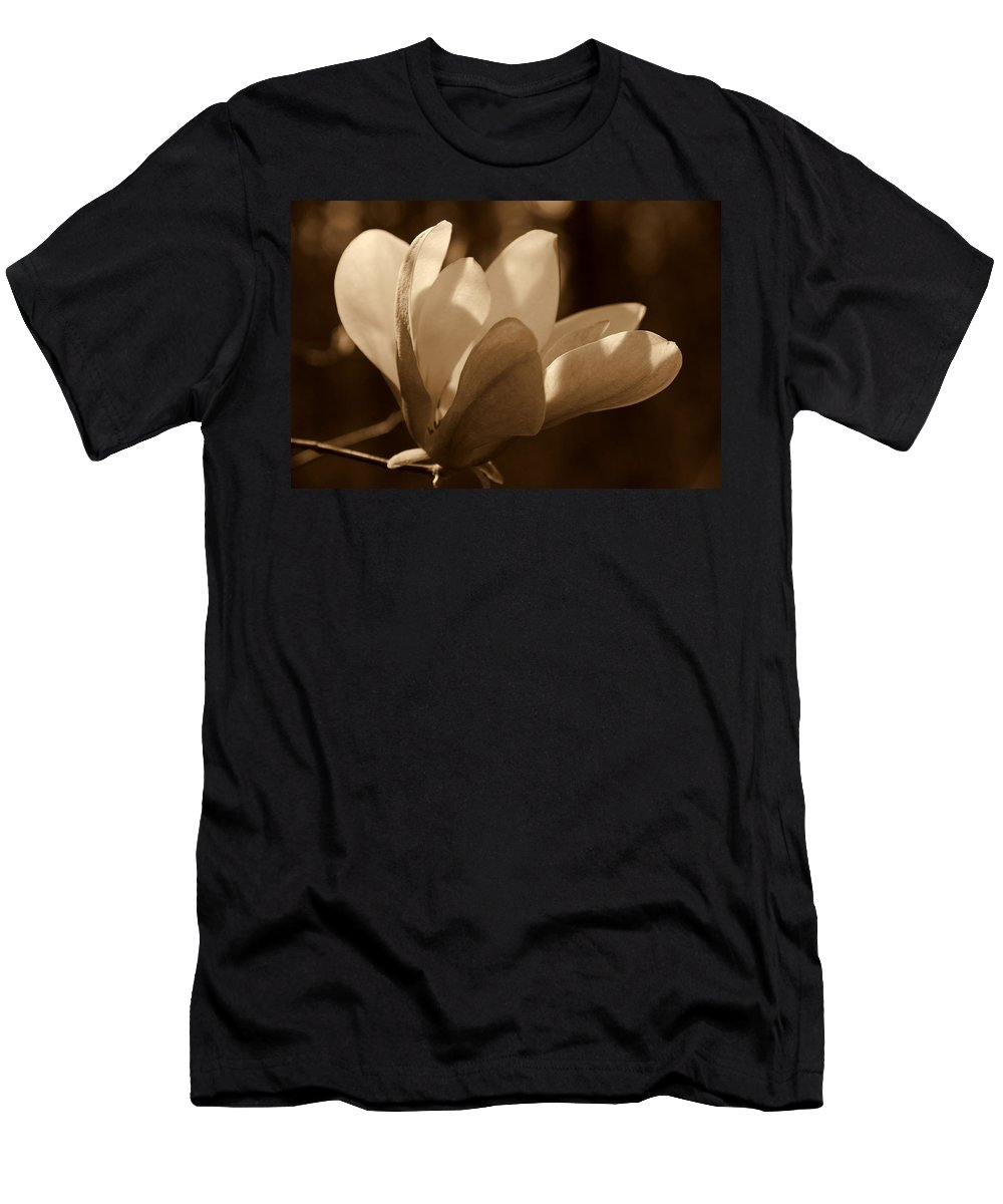 Magnolia Men's T-Shirt (Athletic Fit) featuring the photograph Magnolia Blossom Bw by Susanne Van Hulst
