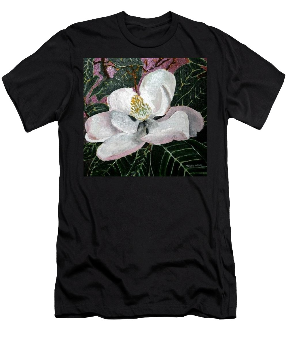 Acrylic Men's T-Shirt (Athletic Fit) featuring the painting Magnolia Flower Painting by Derek Mccrea