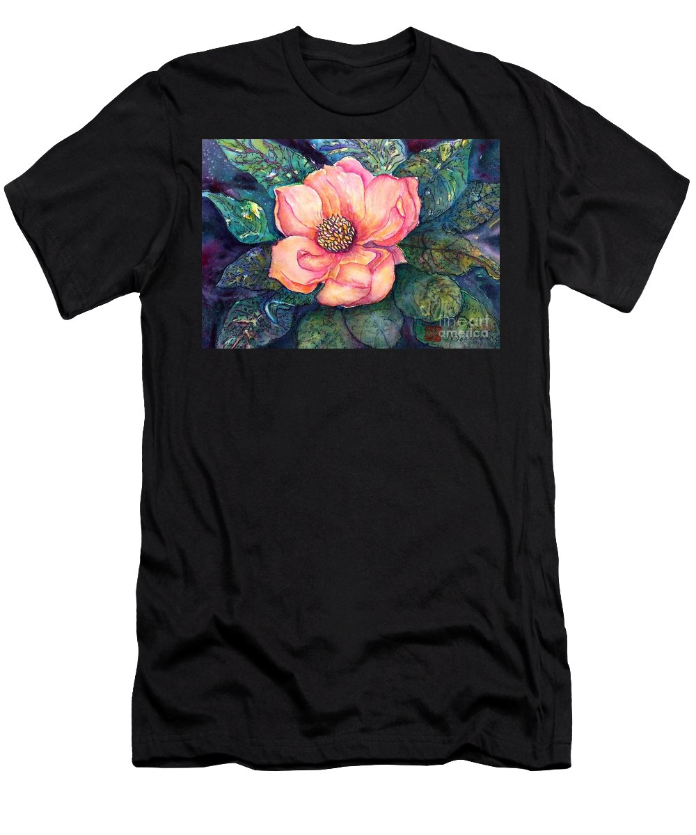 Flowers Men's T-Shirt (Athletic Fit) featuring the painting Magnolia In The Evening by Norma Boeckler