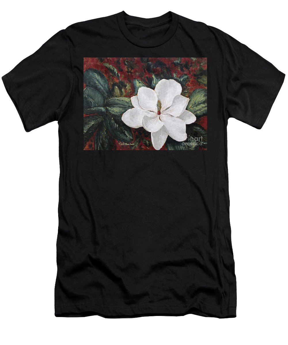 Flower Men's T-Shirt (Athletic Fit) featuring the painting Magnolia by Todd A Blanchard