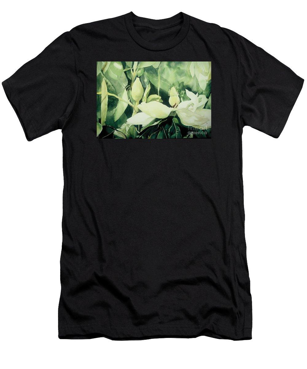 Magnolias Men's T-Shirt (Athletic Fit) featuring the painting Magnolium Opus by Elizabeth Carr